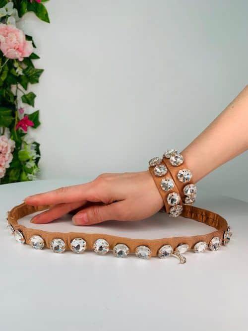 Belly Belt Bracelet Dark Nude Octagonal Crystal | Moonlight Design