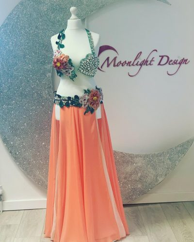 This peach belly dance costume is a Moonlight Design's creation