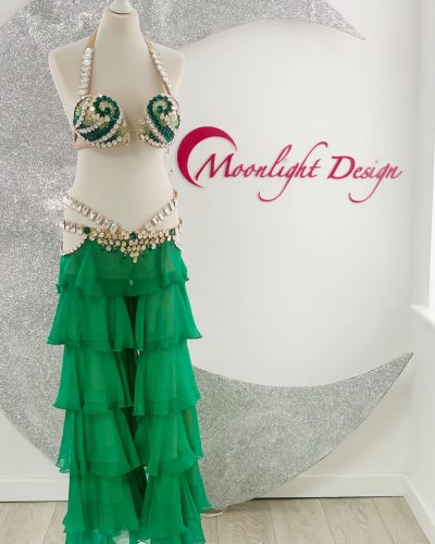This green belly dance costume with trousersis a Moonlight Design's creation