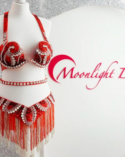 This red belly dance costume is a Moonlight Design's creation. Red belt and bra full of crystals