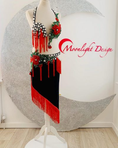 This is a Spanish style belly dance costume created by Moonlight Design