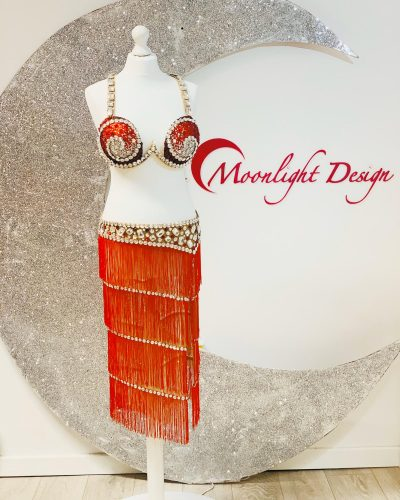 red belly dance costume with fringes is a creation by Moonlight Design